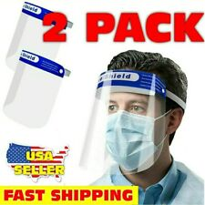 2 PCS Safety Full Face Shield Washable Reusable Protection Cover Face Mask. NY!!