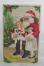 Antique Christmas Postcard Santa Claus Sitting w/Two Little Girls Decorated Tree
