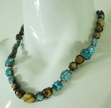 Sorelli Signed Necklace Brilliant Blue Aqua Rhinestones Beige Agate Stones