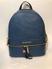 Michael Kors Rhea Zip Small Backpack in Dark Chambray/Gold