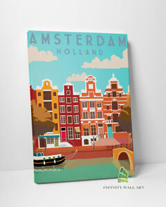 AMSTERDAM HOLLAND Canvas Art Wall Art Travel Retro Vintage Print Picture -C418