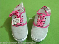 LADIES GIRLS GREY CANVAS SHOES RUBBER PUMP LACE UP FLAT TRAINERS DECK 7 UK