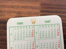 Genuine Rolex Calendar Card 1986 / 1987 + FREE SHIPPING