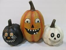 "Halloween Pumpkins Trio Cat Pumpkin Sculpture Figurine Decor 14.5"" Wide LARGE"