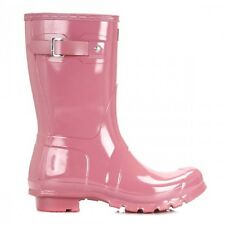 Hunter Original Gloss Short Womens Rhodonite Pink Wellies UK 3-9