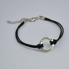 Cancer Survivor Ribbon Disc Black Strap Lobster Clasp Wristband Bracelet