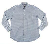 Peter Millar Mens XL 100% Cotton Blue White Check Long Sleeve Button Down Shirt