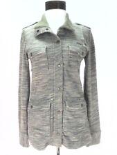VEUC $110 VOLCOM Jacket Green/Gray Snap MILITARY Stripe Soft Womens Small S