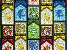 HARRY POTTER FABRIC STAINED GLASS HOUSES CRESTS CAMELOT 100% COTTONS BY THE YARD