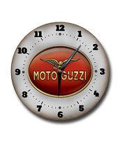 "MOTO GUZZI 250MM/10"" DIAMETER METAL WALL CLOCK,GARAGE CLOCK.WORKSHOP CLOCK"