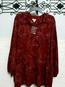 LOGO By Lori Goldstein Top Size 2X Burgundy  Long Sleeve  Blouse
