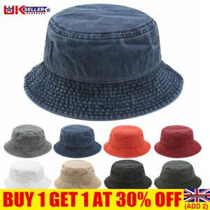 Men Women Stonewash Bucket Hat Cotton Fisherman Cap Beanie Sunhat Travel Cap UK