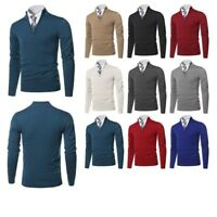 FashionOutfit Men's Classic Half Zip Up Mock Neck Basic Sweater Top