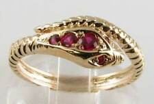 LOVELY 9CT 9K GOLD VICTORIAN INS RUBY COILED SNAKE RING FREE RESIZE