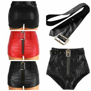 Women Leather Hot Pants Casual High Waisted Zipper Shorts Bottoms Short Trousers