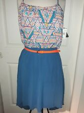 NWT City Triangles Strappy Back Summer Dress High - Low Hem Blue Orange Size 9