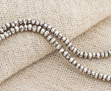 Karen Hill Tribe Silver 90 Printed Solid Seed Beads 2.5 mm. 6.5 inches