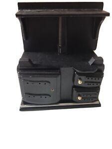 Dolls House Furniture Miniature Black Cooker Aga Stove Hob Oven   {k}