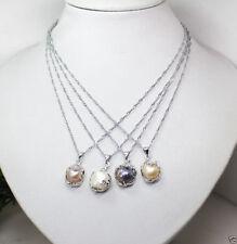Fashion 4pcs white pink Purple black baroque pearl pendant necklace jewelry