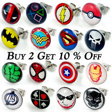 1x Pair Mens Steel Cartoon Superhero Logo Stud Earrings Christmas Super Hero