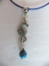New Silver Sea Horse with Real Blue-strip Agate Gemstone Necklace
