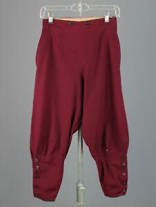 """VTG Women's Early 1900s Wool Red / Maroon Breeches Sz 25.5"""" Edwardian Pants"""