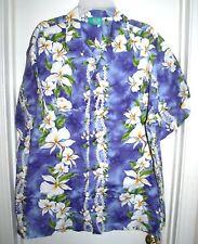 Jade Fashions Purple Hawaiian Shirt White Green Flowers Floral Top Size XL