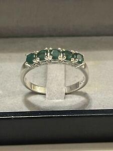 Silber Ring Smaragd Grün Bandring  Vorsteckring Edelstein 925 Silber rar Vintage