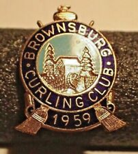 Vintage Curling Club Pin - Brownsburg Curling Club 1959 stamped Scully Montreal