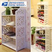 3/4/5Tier Wood Shelf Entryway Storage Shoe Rack Bookcase Holder Home Furniture