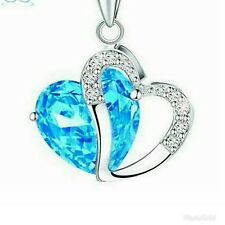 Valentine's Gift for Women Heart light blue  Crystal Amethyst Maxi Statement