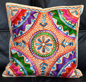 Cotton Embroidery Craft Optiions Hand Made beige white Pillow Cover from India