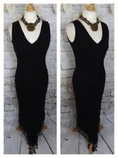 "PHASE EIGHT lined maxi dress 10 bust 34"" 100% linen black fringed fitted long"