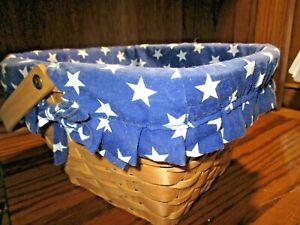 Wooden Wicker Multi-Purpose Basket w/ Removable Liner Navy Blue- White Stars 517