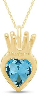 Simulated Aquamarine Heart Crown Pendant Necklace in 14K Yellow Gold Over