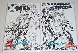 Set Of B/W X-Men Connecting Variant Comics! Signed-J. Scott Campbell! NM! COA!