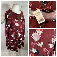 GEORGE Ladies Burgundy Dress Size 20 Floral Stretchy Casual Everyday NEW NWT