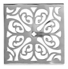 "NEWPORT BRASS 233-605/26 GRID 6"" SQUARE DRAIN COVER MODEL #5 POLISHED CHROME"