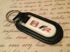 SEAT FR Real Leather Keyring  Printed resin coated IBIZA