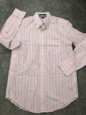 GANT mens Size M Pink Striped Oxford Shirt Long Sleeve Regular  Fit