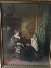 Antique Conrad Kiesel Print Late 19th C Lady & Child in Parlor Brandes & Wolff