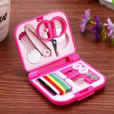 Portable Travel Sewing Kit Needle Threads Buttons Scissors Thimble Storage Box