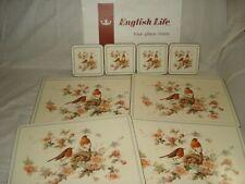 English Life Robin & Roses Boxed 8 Piece Cork Backed Place Mats & Coasters Set 4