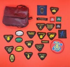 More details for girl guide/brownies  badges/patches vintage cornwall in leather bag