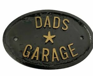 Dads Garage Sign Wall Decor Ceramic Tikki Bar Mancave Shed Novelty Fun Gift NEW