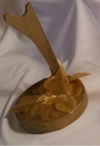 Handmade OOAK Wood Barbie/Ken Doll Saddle Stand~Metallic Gold w/Gold Leaves