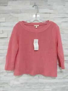 NWT Eileen Fisher Gladiola Pink Fine Gauge Linen Bateau Neck Box Top Sweater PS