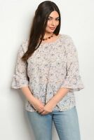 Women's Plus Size Blush Pink Floral Top with Criss Cross Back 2XL NWT