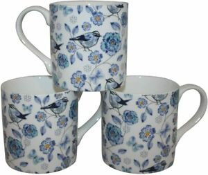 Rubyspoon Set of 3 'Bluebird' Large Balmoral Fine Bone China Mugs 425ml Gift Set