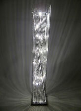 Cayan Tower Twisted Silver Metal Wire Floor Standard Standing LED Lamp Chrome